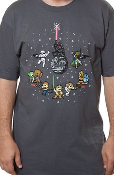 This Star Wars shirt features 8-bit images of characters from the sci-fi saga that began a long time ago in a galaxy far, far away. The shirt includes a Stormtrooper, Darth Vader on top of the Death S