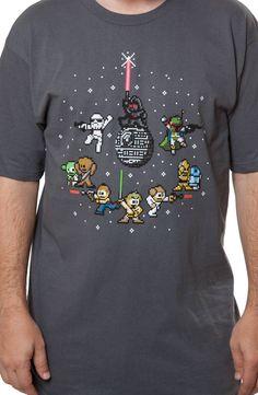 Star Wars 8-Bit Galaxy Shirt: Darth Vader, Boba Fett, Storm Trooper