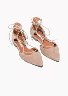 & Other Stories image 2 of Lace-Up D'Orsay Flats in Beige Suede