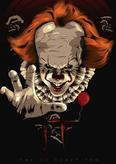 Clown Horror Movie, It The Clown Movie, Horror Movie Characters, Horror Movies, Horror Posters, Horror Icons, Horror Art, Pennywise Film, Pennywise The Dancing Clown