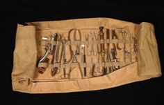 Battlefield Surgical Kit, from 25th General Hospital: Courage & Skill in World War II -- for an exhibit highlighting movements, personal     narratives and medical contributions see http://digitalprojects.libraries.uc.edu/exhibits/25thGeneralHospital/;     for entire collection see http://digproj.libraries.uc.edu:8180/luna/servlet/s/4lcgzb; connect on Facebook and     share your own WWII General Hospital stories at http://www.facebook.com/UC25thGeneralHospital