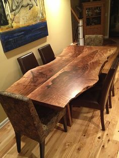 """Torches"" Walnut live edge table, custom built and designed by NK Woodworking; Walnut slab repurposed by Seattle Slabs (a subsidiary of NKW)."