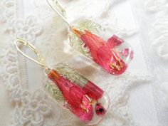 Lady In Red Salvia Heather and Ferns Pressed by giftforallseasons, $24.00