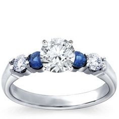 Diamond and saphire engagement ring from Blue Nile