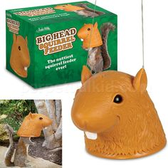 I wish I had a yard! This would be hilarious! BIG HEAD SQUIRREL FEEDER