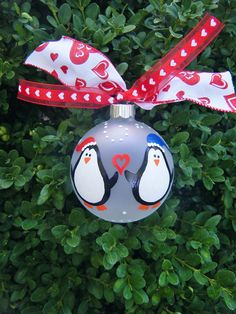 Penguin Couple - Just Married - Personalized Wedding Ornament - Hand Painted Glass Ball