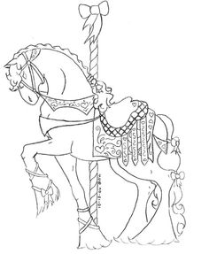 Carousel Horses Embroidery Needles Colorful Pictures Adult Coloring Pages Needlepoint Rounding Merry Colorized Photos Colouring In
