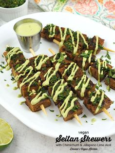 Seitan Skewers with Chimichurri and Jalapeno Lime Aioli are a fun appetizer for summertime cookouts. You can serve a few of them together with some vegetables for a main course, too. Homemade seitan makes these kebabs extra delicious. This easy recipe is vegan. Finger Food Appetizers, Best Appetizers, Finger Foods, Kebabs, Skewers, Homemade Seitan, Breakfast Recipes, Dinner Recipes, Finger Food