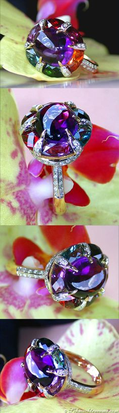 Unique Multicolour Gemstone Ring with Diamonds, 9,35 ct. YG14K - Visit: schmucktraeume.com Like: https://www.facebook.com/pages/Noble-Juwelen/150871984924926 Mail: info@schmucktraeume.com