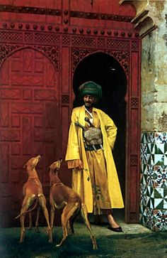 Jean-Leon Gerome  (1824-1904)  An Arab and his Dogs  Oil on canvas1875