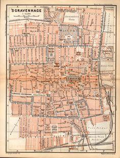 1897 The Hague, Netherlands, Antique  Map, Vintage Lithograph  /  's Gravenhage,  ( Den Haag), Zuid-Holland, Nederland
