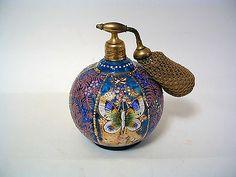 EAPG Antique Victorian Blue Art Glass Enamel Butterfly Perfume Atomizer Bottle | eBay