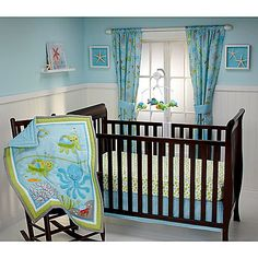 The Little Bedding Ocean Dreams Crib Bedding Set from NoJo is a fun collection that brings an adorable look to your nursery. Includes a comforter, fitted sheet and a crib skirt decorated with under-the-sea creatures.