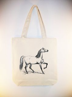 Vintage Horse Illustration on Canvas Tote by Whimsybags, $12.00