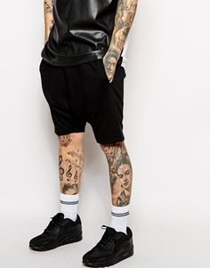 ASOS Jersey Shorts In Drop Crotch Mid Length