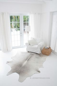 Jersey Road - Light Gray Cowhide Rug, $399.00 (http://www.jerseyroad.com/light-gray-cowhide-rug/)