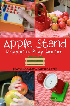 One of our favorite fall activities is the apple stand dramatic play center. Our toddlers and preschoolers love pretending to sell apples, packing baskets and ringing them up on our pretend cash register. Fun for the fall theme! #fall #autumn #apples #dramaticplay #pretend #toddler #preschool #2yearolds #3yearolds #teaching2and3yearolds Dramatic Play Themes, Dramatic Play Area, Dramatic Play Centers, Preschool Kitchen Center, Preschool Apple Theme, Preschool Apples, Fall Activities For Toddlers, Learning Activities, Daycare Themes