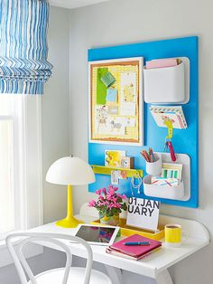 The wall next to your desk can hold more than a calendar. Expand storage space with hanging paper organizers, penholders, and mail catchers. Taking these items off the work surface gives you more space to complete tasks and cross items off of that never-ending to-do list.