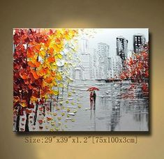 This painting is definitely a great gift.Its also Perfect choice for home and office decorations. This is an original painting,, 100% hand painted on canvas, coated with a layer of semi gloss varnish. Thick paints,Magical and skilled palette knife , expressionist impasto style, delicate