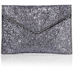 Rebecca Minkoff Leo Zipper-Trimmed Glittered Leather Envelope Clutch (405 RON) ❤ liked on Polyvore featuring bags, handbags, clutches, apparel & accessories, silver, zipper purse, leather clutches, blue leather purse, blue clutches y leather purse