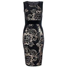 Quiz Velvet Floral Sequin Dress (1.525 RUB) ❤ liked on Polyvore featuring dresses, short dress, black, blue cross, black velvet cocktail dress, black party dresses, short black dresses, sequin party dresses and black mini dress