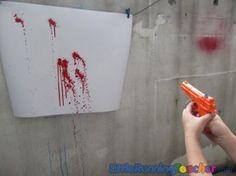 squirt gun painting --- looks like so much fun! Next summer!