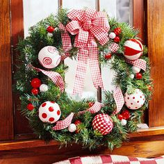 Hang this wreath anywhere -- it's as fresh as peppermint candy. Find out more in the project link below. Christmas Door, Christmas Is Coming, Christmas Crafts, White Christmas, Christmas Holidays, Country Christmas, Merry Christmas, Christmas Inspiration, Advent