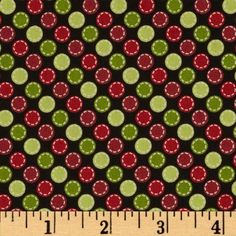 Kimberbell's Merry & Bright Stitched Dots Black from @fabricdotcom  Designed by Kim Christopherson of Kimberbell Designs for Maywood Studios, this cotton print is perfect for quilting, apparel and home decor accents.  Colors include black, white, shades of red and shades of green.