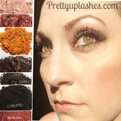 Get your shimmer on! with Younique pigments in Sexy, vulnerable, gorgeous, confident, daring, and corrupted. Available at prettyuplashes.com