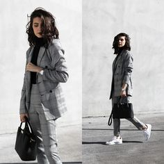 CLAUDIA Holynights - In The Style Plaid Blazer, In The Style Plaid Pants, Adidas Stan Smith Sneakers - Plaid suit