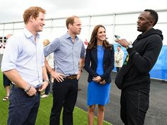 """Do you work out?"" Jamaican sprinter  (and the fastest man on the earth) Usain Bolt quizzes Prince Harry and Prince William, but leaves Kate out of the jabs, at the Commonwealth Games in Glasgow, Scotland, on Tuesday."