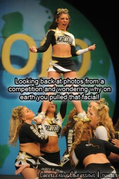 cheer quotes haha every time my favorite things are Serving face Giving face And cracking And cracking your face -world cup oddesy Cheer Athletics, Cheer Stunts, Cheer Dance, Cheer Qoutes, Cheerleading Quotes, Gymnastics Quotes, Cheerleading Flyer, Cheer Sayings, Cheer Workouts