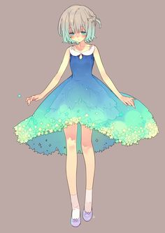 Anime / Manga Colorful Blue Aqua Dress
