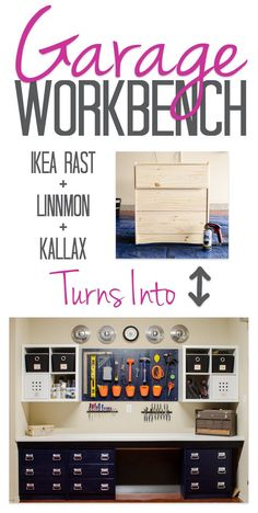 Our DIY garage workbench was put together with IKEA supplies to keep the price low. Using RAST dressers, LINNMON table tops, and KALLAX shelves let us customize the perfect garage organization on a budget. Garage Organization, Garage Storage, Organized Garage, Organization Ideas, Garage Shelving, Garage Bench, Wall Storage, Storage Drawers, Organized Office