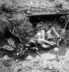 World War I, The Battle of La Basse, dead German soldiers in the trenches, 1914