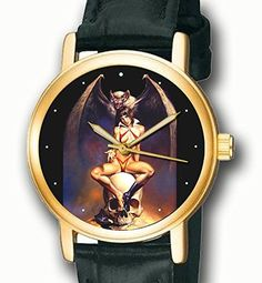 Vampirella - Vintage 70s Comic Art Dial Collectible Erotic Vampire Art 30 mm Unisex Wrist Watch