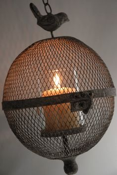 """7"""" Wire Mesh Globe Candle Holder with Glass Insert $21"""