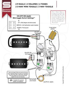 Seymour Duncan PRails wiring diagram 2 PRails, 2 Vol