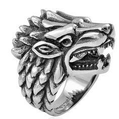 Wolf Skull Men's Gents Ring Black Oxidized Stainless Steel  Size 10 #Unbranded #Statement