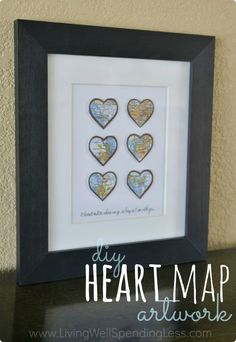 Sweet and easy-to-make DIY heart map art project? A great way to remember all the places you've lived or traveled to, or even all the places you dream of going someday. Makes a perfect handmade anniversary gift! Estes Park Colorado, Detroit Michigan, Diy Wall Art, Diy Art, Handmade Anniversary Gifts, Anniversary Ideas, Dallas, Map Artwork, Office Home
