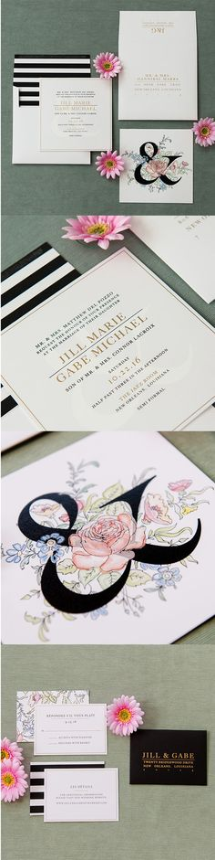"""Modern #wedding #invitation by @engagingpapers. It's all in the details, and it's the details that make this invitation so special! The """"Jill"""" is a collection that unites simple elegance and a modern twist. The double-sided square invitation features a subtle, white watermark ampersand behind our signature LuxePress ink in black and metallic gold."""