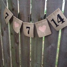 Save The Date Burlap Banner with Muslin Fabric - Date Banner for Baby Reveal, Wedding announcement photo Prop, Receptions