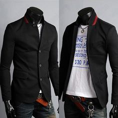 Korean Mens Slim Fit Premium Button Jacket China Collar Short Blazer Coat-in Blazers from Apparel & Accessories on Aliexpress.com