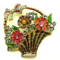 1940s CoroCraft 18k Gold Plated Sterling Enamel Rhinestones Flower Basket Brooch