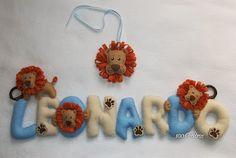 1001 Feltros: Nome decorado leãozinho