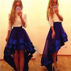 High Low Prom Dresses Ivory Lace Royal Blue