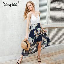 Simplee Sexy tisk krajky letní šaty Řemínek hluboký výstřih s vysokým pasem plážové šaty ženy 2017 nové štěrbina s hlubokým výstřihem dlouhé šaty (Čína (pevninská část))