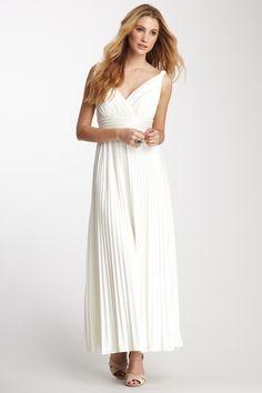 V-Neck Pleated Maxi Dress | Hautelook