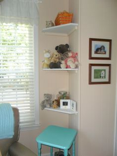 Project Nursery - corner shelves, utilize every bit of space