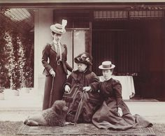 Three Victorias at Balmoral, June 1898. Left to right: Princess Victoria of Wales; Queen Victoria; Princess Helena Victoria of Schleswig-Holstein (both Queen Victoria's granddaughters). From the Royal Collection.